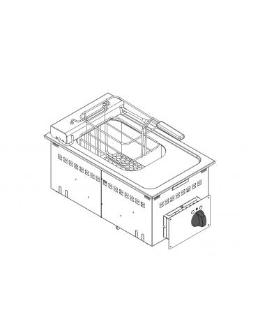 Friggitrice elettrica da incasso, vasca AISI 304 dim. cm 22,5x34x22,5h - 8 lt - dim tot. cm 35x60