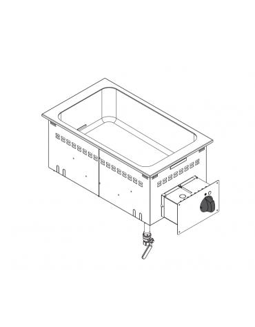 Bagnomaria elettrico da incasso, vasca AISI 304 - GN1/1 dim. cm 30,5x51x16,5h - dim tot. cm 35x60