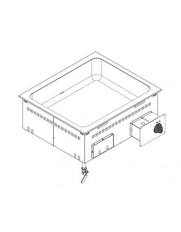 Bagnomaria elettrico da incasso, vasca AISI 304 - GN2/1 dim. cm 63x51x16,5h - dim tot. cm 70x60