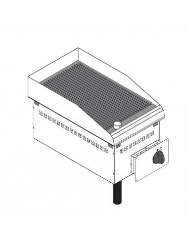 Fry top elettrico da incasso, piastra rigata, range temp. 50÷320 °C - sup. di cottura cm 34,6x56,4  - dim. 35x60x21h