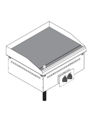 Fry top elettrico da incasso, piastra liscia, range temp. 50÷320 °C - sup. di cottura cm 69,6x56,4  - dim. 70x60x21h