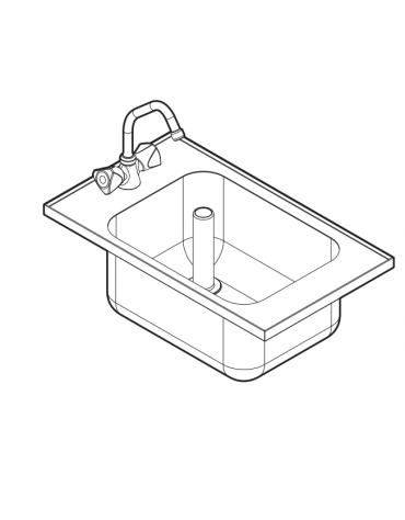"""Lavello da incasso dotato di una vasca stampata con angoli arrotondati, piletta di scarico da 1,5"""" - cm 35x60"""