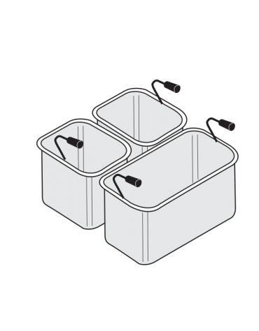 Set Cestelli 1 × GN1/3 + 2 × GN1/6 -Dim. cm 29 × 16 × 20h + 14 × 14 × 20h