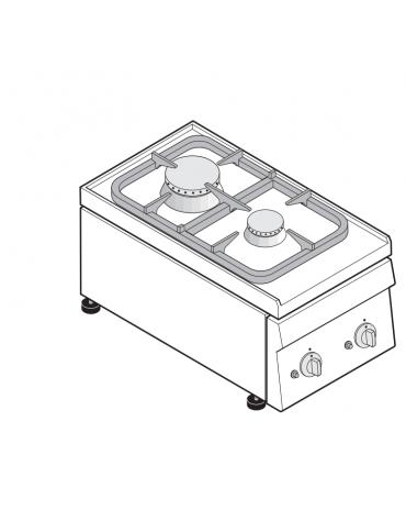 Piano di cottura a gas 2 fuochi, potenza fuochi aperti 1x3 + 1x3,6 n°x kW - cm 35x60x30h