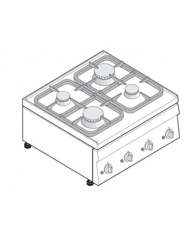 Piano di cottura a gas 4 fuochi, potenza fuochi aperti 2x3 + 2x3,6 n°x kW - cm 70x60x30h