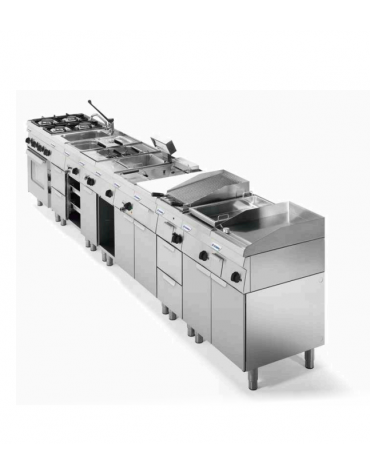 Cucina a gas 6 fuochi su forno elettrico ventilato monofase con camera cm 62x41,5x30,5h, 1 griglia e 1 teglia - cm 105x60x85h