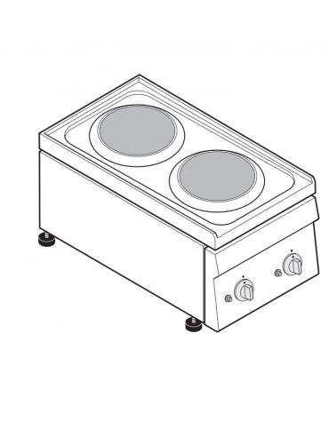 Piano di cottura elettrico monofase-4kw, 2 piastre Ø cm 18 - cm 35x60x30h