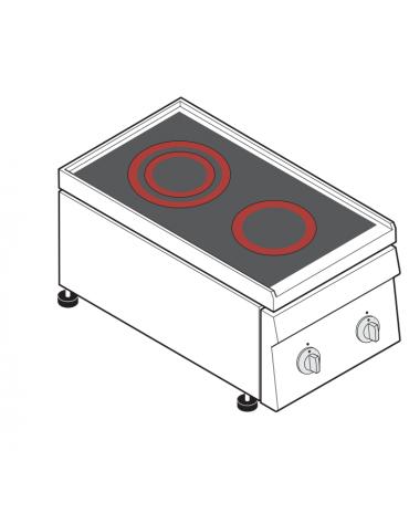 Piano di cottura elettrico trifase-4,3kw, con 2 piani di cottura in vetroceramica - cm 35x60x30h