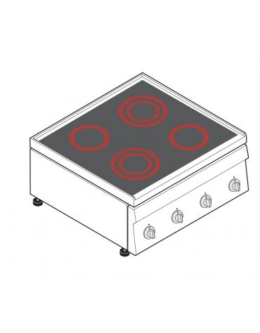 Piano di cottura elettrico trifase-8,6kw, con 4 piani di cottura in vetroceramica - cm 70x60x30h