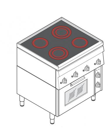 Cucina elettrica trifase-11,1kw, 4 piani di cottura in vetroceramica, forno elettrico ventilato - cm 70x60x85h