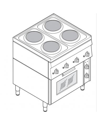 Piano di cottura elett. trifase-10.5kw, 4 piastre Ø 18, forno elettrico con camera cm 46x41,5x32h ventilato - cm 70x60x85h