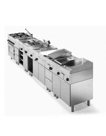 Piano di cottura elett. monofase-3 + 6 + 2,5 kW, 6 piastre Ø 18, forno elett., camera cm 62x41,5x30,5h ventilato - cm 105x60x85h