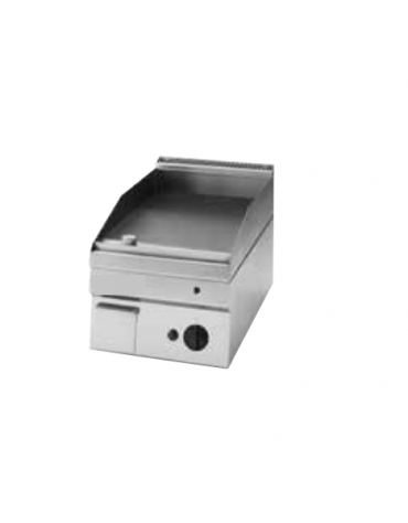 Fry top elettrico monofase-3kw da incasso, piastra liscia, r. temp. 50÷320 °C - sup. di cottura cm 34,6x56,4  - dim. 35x60x30h