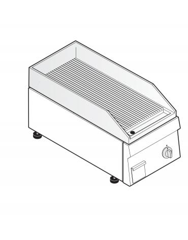 Fry top elettrico trifase-3.9kw da incasso, piastra rigata, r. temp. 50÷320 °C - sup. di cottura cm 34,6x56,4  - dim. 35x60x30h