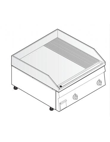 Fry top elettrico monofase-6kw da banco, piastra 1/3Rigata 2/3Liscia - sup. di cottura cm 69,6x56,4  - dim. 70x60x30h