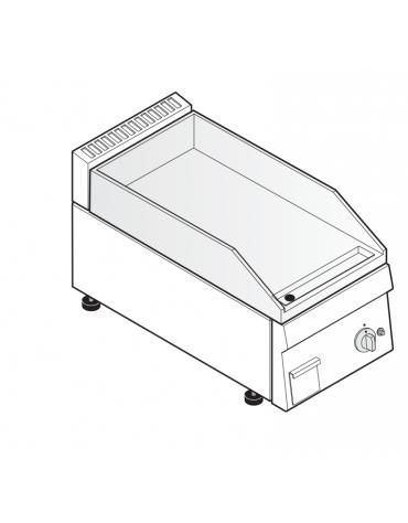 Fry top a gas da banco, 4 kw, piastra liscia, consumo gas 0,42 m³/h - sup. di cottura cm 34,6x56,4  - dim. 35x60x30h