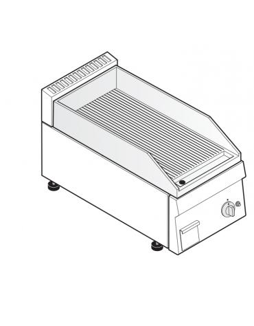 Fry top a gas da banco, 4 kw, piastra rigata, consumo gas 0,42 m³/h - sup. di cottura cm 34,6x56,4  - dim. 35x60x30h
