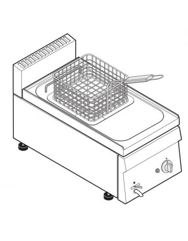 Friggitrice a gas 6,25kw da banco, 1 vasca AISI 304 dim. cm 22,5x34x22,5h - 8 lt - dim tot. cm 35x60x30h