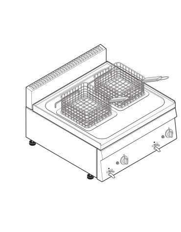 Friggitrice a gas 12,5kw da banco, 2 vasche AISI 304 dim. cm 22,5x34x22,5h - 8 + 8 lt - dim tot. cm 70x60x30h