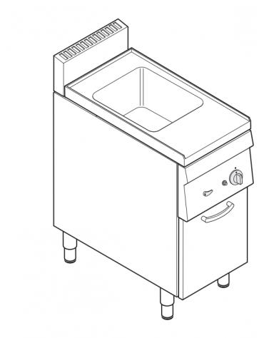 Cuocipasta elettrico trifase-4,8kw, GN 2/3, in acciaio in acciaio inox AISI 316 da 23 litri di capacità - cm 35x60x85h