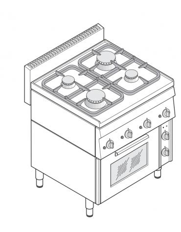Cucina a gas 4 fuochi su forno elettrico ventilato monofase con camera cm 46x41,5x32h, 1 griglia e 1 teglia - cm 70x65x85h
