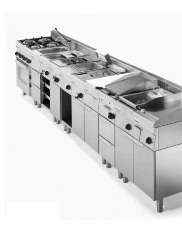Cucina a gas 6 fuochi su forno ventilato monofase GN1/1, camera cm 46x41,5x32h, 1 griglia e 1 teglia - cm 105x65x85h