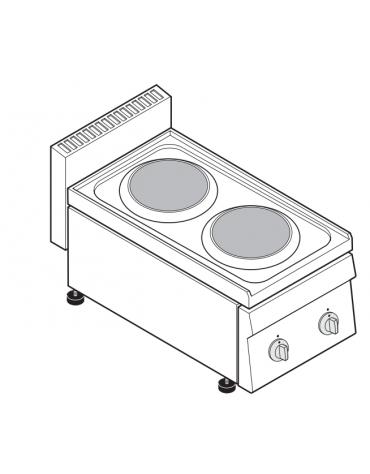 Piano di cottura elettrico monofase-4kw, 2 piastre Ø cm 18 - cm 35x65x28h
