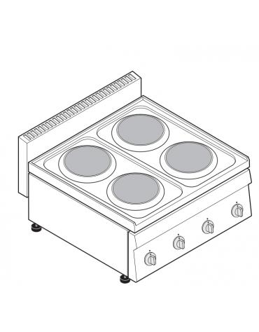 Piano di cottura elettrico trifase-8kw, 4 piastre Ø cm 18 - cm 70x65x28h