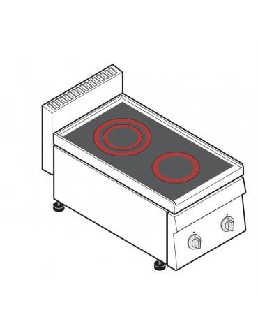Piano di cottura elettrico trifase-4,3kw, con 2 piani di cottura in vetroceramica - cm 35x65x28h