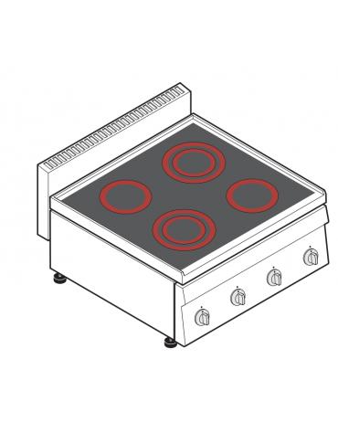Piano di cottura elettrico trifase-8,6kw, con 4 piani di cottura in vetroceramica - cm 70x65x28h