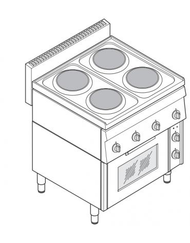 Piano di cottura elett. trifase-10.5kw, 4 piastre Ø 18, forno elettrico con camera cm 46x41,5x32h ventilato - cm 70x65x85h