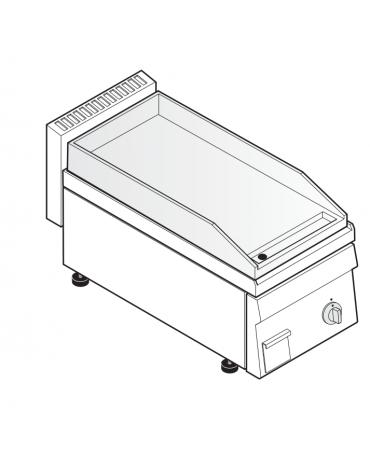 Fry top elettrico trifase-3.9kw da banco, piastra liscia, r. temp. 50÷320 °C - sup. di cottura cm 34,6x56,4  - dim. 35x65x28h
