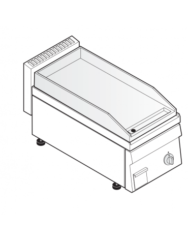 Fry top elettrico monofase-3kw da banco, piastra liscia, r. temp. 50÷320 °C - sup. di cottura cm 34,6x56,4  - dim. 35x65x28h