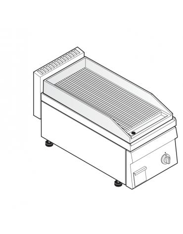 Fry top elettrico trifase-3,9kw da banco, piastra rigata, r. temp. 50÷320 °C - sup. di cottura cm 34,6x56,4  - dim. 35x65x28h