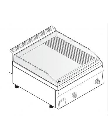 Fry top elettrico monofase-6kw da banco, piastra 1/3Rigata 2/3Liscia - sup. di cottura cm 69,6x56,4  - dim. 70x65x28h