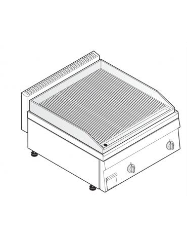 Fry top elettrico trifase-7.8kw da banco, piastra rigata, r. temp. 50÷320 °C - sup. di cottura cm 69,6x56,4  - dim. 70x65x28h
