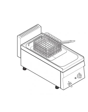 Friggitrice a gas 6,25kw da banco, 1 vasca AISI 304 dim. cm 22,5x34x22,5h - 8 lt - dim tot. cm 35x65x28h