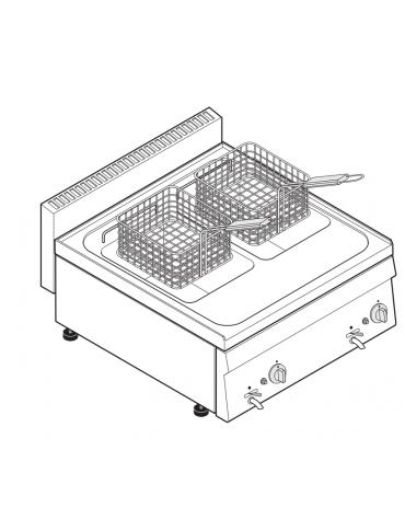 Friggitrice a gas 12,5kw da banco, 2 vasche AISI 304 dim. cm 22,5x34x22,5h - 8+8 lt - dim tot. cm 70x65x28h
