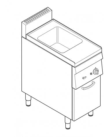 Cuocipasta elettrico trifase-4,8kw, GN 2/3, in acciaio in acciaio inox AISI 316 da 23 litri di capacità - cm 35x65x85h