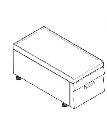 Piano di lavoro accessoriabile con apposito tagliere in materiale atossico, con cassetto GN 1/1 di cm 28,5x53x10h - cm 35x60x30h