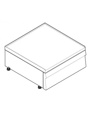 Piano di lavoro accessoriabile con apposito tagliere in materiale atossico, senza cassetto - cm 70x60x30h