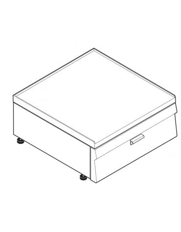 Piano di lavoro accessoriabile con apposito tagliere in materiale atossico, con cassetto GN 2/1 di cm 63,5x53x10h - cm 70x60x30h