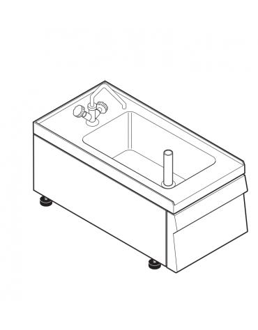 Lavello dotato di vasca stampata cm 29x40x20h - 23 Lt., compreso di miscelatore con manopole - cm 35x60x30h