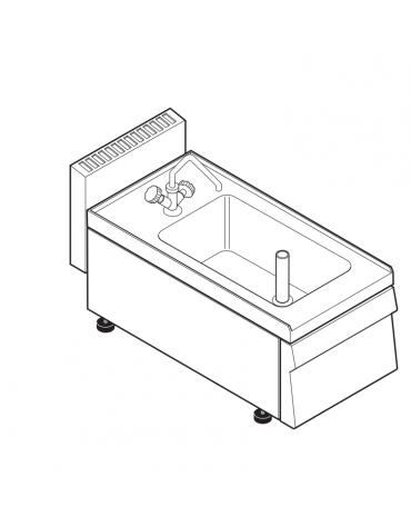 Lavello dotato di vasca stampata cm 29x40x20h - 23 Lt., compreso di miscelatore con manopole - cm 35x65x30h