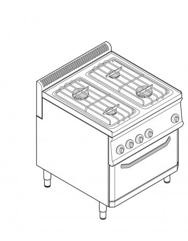 Piano di cottura a gas 4 fuochi, forno a gas GN 2/1, fuochi aperti 2x6+2x3,5n°xkW - cam. forno cm 57,5x65x30 - cm 70x70x85h