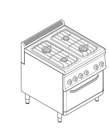 Piano di cottura a gas 4 fuochi, forno elettrico GN 2/1, fuochi aperti 2x6+2x3,5n°xkW - cam. forno cm 57,5x65x30 - cm 70x70x85h
