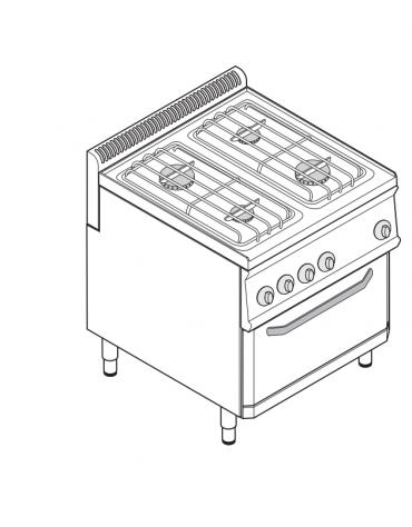 Piano di cottura a gas 4 fuochi, forno elett. vent. GN1/1, fuochi aperti 2x6+2x3,5n°xkW - cam.forno cm 57,5x65x30 - cm 70x70x85h