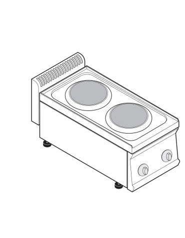 Piano di cottura elettrico trifase-4kw, 2 piastre Ø cm 22 - cm 35x70x28h
