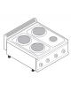 Piano di cottura elettrico trifase-7,5kw, 4 piastre 3xØ22 + 1xØ15 - cm 70x70x28h