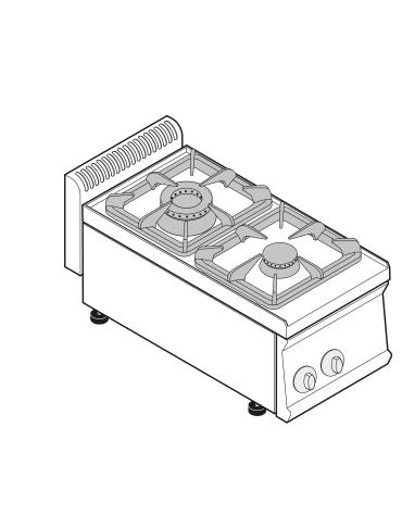 Piano di cottura a gas 2 fuochi, potenza fuochi aperti 1x7,2 + 1x3,3 n°xkW - cm 35x70x28h